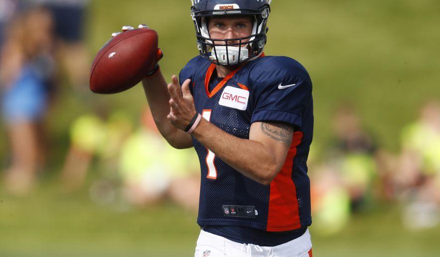 Denver Broncos quarterback Kyle Sloter during an NFL football training camp, Saturday, Aug. 5, 2017, in Englewood, Colo. (AP Photo/David Zalubowski)
