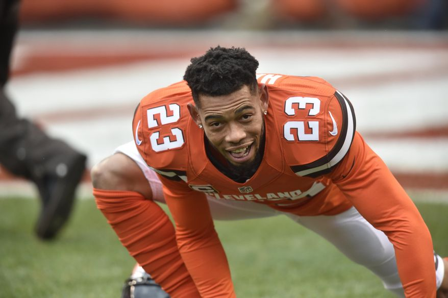 This Nov. 20, 2016 photo shows Cleveland Browns cornerback Joe Haden (23) warming up before an NFL football game against the Pittsburgh Steelers in Cleveland. Haden has battled losing and injuries the past few seasons, but the former Pro Bowler is healthy and excited about the potential in Cleveland's secondary. (AP Photo/David Richard)