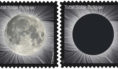 FILE - These undated images provided by the U.S. Postal Service shows the Total Solar Eclipse Forever stamp. On Tuesday, June 20, 2017, the U.S. Postal Service unveiled the first-of-its-kind stamp, which commemorates the Aug. 21, 2017 eclipse, that changes when you touch it by transforming into an image of the Moon from the heat of a finger. (U.S. Postal Service via AP, File)