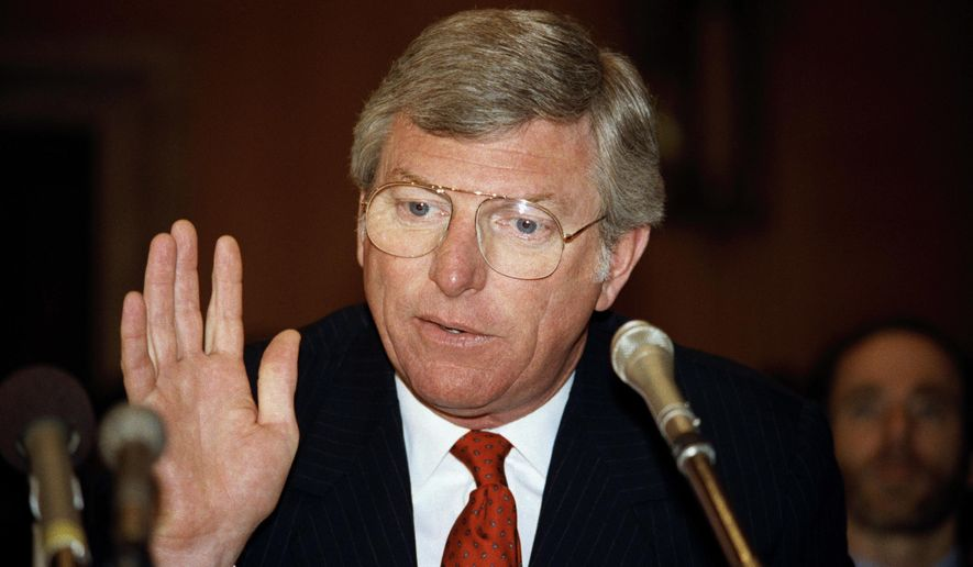 "FILE - In this June 19, 1985 file photo, Texas Gov. Mark White gestures while speaking before the environment and public works in Washington. Former Texas Gov. Mark White, a Democrat who championed public education reforms, including the landmark ""no-pass, no-play"" policy for high school athletes, has died, Saturday, Aug. 5, 2017. He was 77. (AP Photo/Lana Harris, File)"