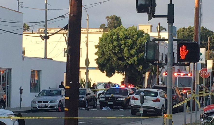 Police work the scene of a shooting near Hotchkiss Park, in Santa Monica, Calif., Friday, Aug. 4, 2017. Authorities said a homicide suspect was shot and wounded by police in downtown Santa Monica. Santa Monica Police said on Twitter the suspect pulled a gun on officers and was shot.  No officers were injured and police said the suspect was hospitalized. (@almost_blu via AP)