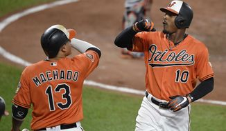 Baltimore Orioles' Adam Jones (10) celebrates his home run with Manny Machado (13) during the fifth inning of a baseball game against the Detroit Tigers, Saturday, Aug. 5, 2017, in Baltimore. (AP Photo/Nick Wass)