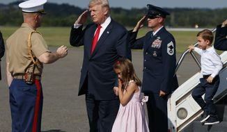 President Donald Trump salutes after walking down the steps of Air Force One with his grandchildren, Arabella Kushner, center, and Joseph Kushner, right, after arriving at Morristown Municipal Airport to begin his summer vacation at his Bedminster golf club, Friday, Aug. 4, 2017, in Morristown, N.J. (AP Photo/Evan Vucci)