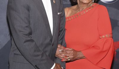 Congresswoman Maxine Waters, right, and husband Sid Williams attend the Black Girls Rock! Awards at the New Jersey Performing Arts Center on Saturday, Aug. 5, 2017, in Newark, N.J. (Photo by Charles Sykes/Invision/AP)