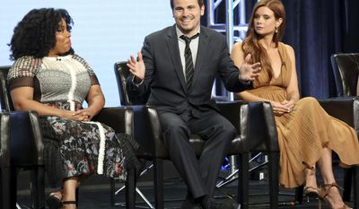 """Kimberly Hebert Gregory, from left, Jason Ritter and Joanna Garcia Swisher participate in the """"Kevin (Probably) Saves The World"""" panel during the Disney ABC Television Critics Association Summer Press Tour at the Beverly Hilton on Sunday, Aug. 6, 2017, in Beverly Hills, Calif. (Photo by Willy Sanjuan/Invision/AP)"""