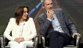 "Patricia Heaton, left, and Neil Flynn participate in the ""The Middle"" panel during the Disney ABC Television Critics Association Summer Press Tour at the Beverly Hilton on Sunday, Aug. 6, 2017, in Beverly Hills, Calif. (Photo by Willy Sanjuan/Invision/AP)"