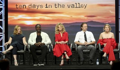 """Tassie Cameron, from left, Adewale Akinnuoye-Agbaje, Kyra Sedgwick, Kick Gurry and Erika Christensen participate in the """"Ten Days In The Valley"""" panel during the Disney ABC Television Critics Association Summer Press Tour at the Beverly Hilton on Sunday, Aug. 6, 2017, in Beverly Hills, Calif. (Photo by Willy Sanjuan/Invision/AP)"""