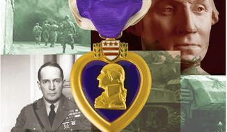 Illustration on the history of the Purple Heart medal by Alexander Hunter/The Washington Times