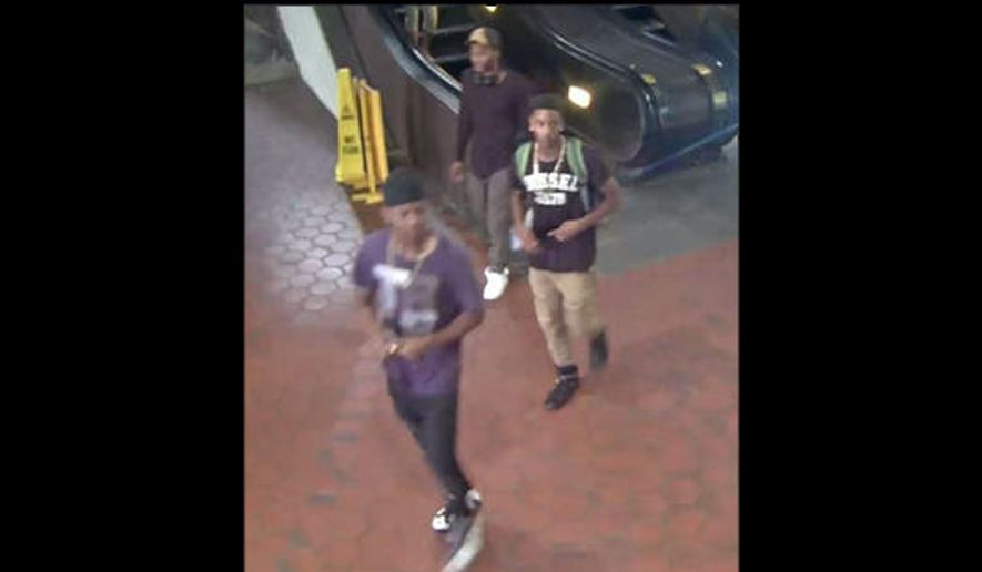 Metro Transit Police released this photo of three persons of interest in the shooting.