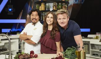 "Chef Edward Lee (left), Samantha Harris and Gordon Ramsey of ""Culinary Genius.""  (Fox)"