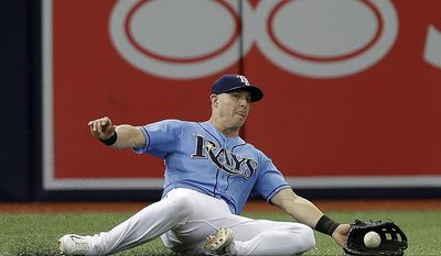Tampa Bay Rays left fielder Corey Dickerson makes a sliding catch on a fly ball hit by Milwaukee Brewers' Eric Thames during the fourth inning of an interleague baseball game, Sunday, Aug. 6, 2017, in St. Petersburg, Fla. (AP Photo/Chris O'Meara)