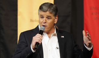 "In this March 18, 2016, file photo, Fox News Channel's Sean Hannity speaks during a campaign rally for Republican presidential candidate, Sen. Ted Cruz, R-Texas, in Phoenix. On Friday, Aug. 4, 2017, the liberal advocacy group Media Matters for America said it will begin asking Hannity's advertisers to shun him and ask thousands of its members to also contact companies, because of ""state-aligned disinformation."" (AP Photo/Rick Scuteri, File)"