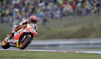 Spain's MotoGP rider Marc Marquez of the Repsol Honda Team rides during the MotoGP race at the Czech Republic motorcycle Grand Prix at the Automotodrom Brno, in Brno, Czech Republic, Sunday, Aug. 6, 2017. (AP Photo/Petr David Josek)