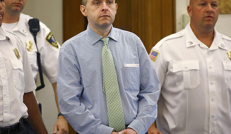 In this July 21, 2015 photo, officers lead Radoslaw Czerkawski into court for sentencing in Dedham, Mass., after he was convicted of larceny. Czerkawski, who is charged with abusing a dog so severely it had to be euthanized, faces multiple animal cruelty charges in the trial scheduled to start Tuesday, Aug. 8, 2017, in Massachusetts. (Greg Derr/The Quincy Patriot Ledger via AP)