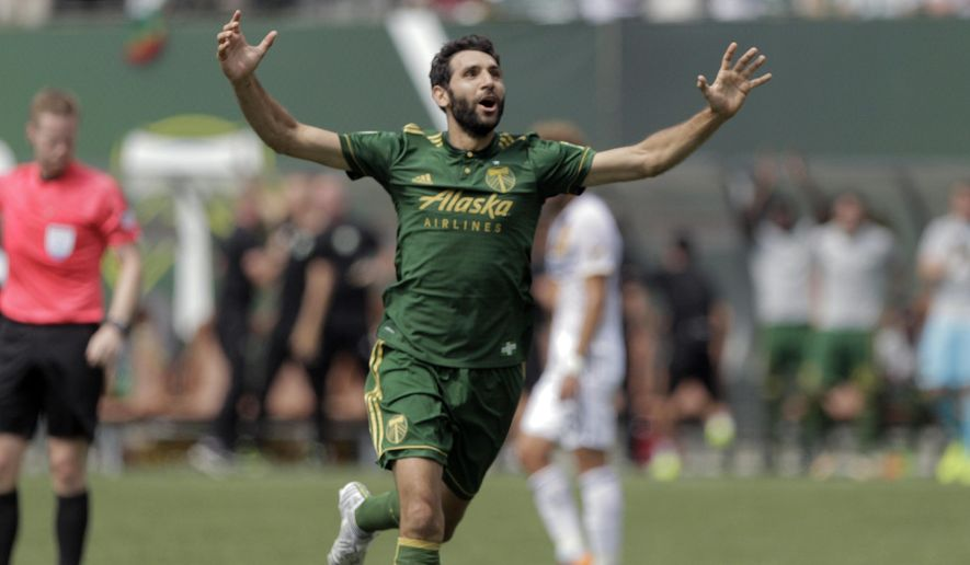 Portland Timbers' Diego Valeri celebrates following his strike that netted his team their second goal of an MLS soccer match against the Los Angeles Galaxy in Portland, Ore., Sunday, Aug. 6, 2017. (Sean Meagher/The Oregonian via AP)