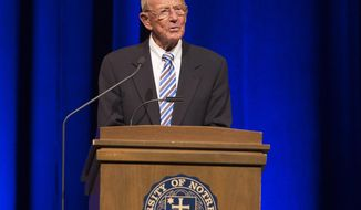 Former Notre Dame football coach Lou Holtz speaks during the Ara Parseghian memorial celebration Sunday, Aug. 6, 2017, in South Bend, Ind. Parseghian led Notre Dame to national football titles in 1966 and 1973. (Santiago Flores/South Bend Tribune via AP)