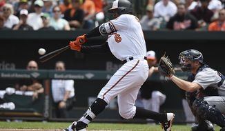Baltimore Orioles' Jonathan Schoop connects for a two run home run against the Detroit Tigers in the first inning of a baseball game, Sunday, Aug. 6, 2017, in Baltimore. (AP Photo/Gail Burton)