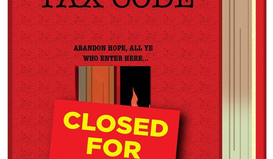 Illustration on tax reform by Alexander Hunter/The Washington Times
