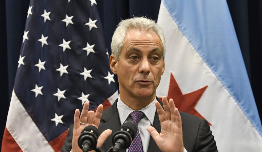 In this Jan. 25, 2017 photo, Chicago Mayor Rahm Emanuel speaks during a press conference where sanctuary cities, which don't arrest or detain immigrants living in the U.S. illegally, and Chicago violence, two issues raised by President Donald Trump, were discussed in Chicago. A federal juge on July 27, 2018 ruled in the city's favor, saying the Trump administration overstepped its bounds by withdrawing police grants. (AP Photo/Matt Marton, File) **FILE**