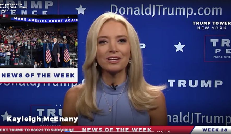 Kayleigh McEnany, the spokeswoman for the Trump reelection campaign, is shown in this 2017 file photo. (Facebook) ** FILE **