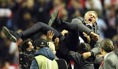 FILE - This is a Wednesday, May 24, 2017 file photo of Manchester United manager Jose Mourinho celebrates at the end of the soccer Europa League final between Ajax Amsterdam and Manchester United at the Friends Arena in Stockholm, Sweden. Jose Mourinho is beginning his second season at Old Trafford. He claimed league titles at the same stage of his tenure in his last two jobs, with Real Madrid and Chelsea. (AP Photo/Martin Meissner, File)