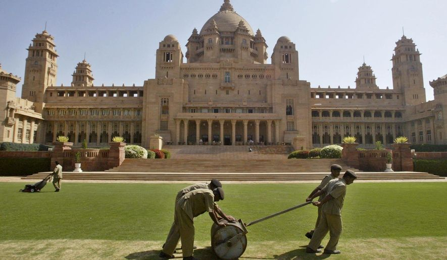 """FILE - This March 6, 2007 photo, shows a general view of the Umaid Bhawan Palace in Jodhpur, India. The 347-room palace, considered one of the world's fanciest residences, was used as the primary location for """"Viceroy House,"""" a film by director Gurinder Chadha. The movie details the last days of the British Empire in India and the bloody partition with what became Pakistan in 1947. (AP Photo/Mustafa Quraishi, File)"""