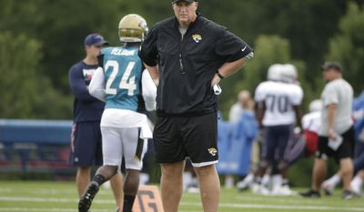Jacksonville Jaguars head coach Doug Marrone stands on the field during an NFL football joint practice with the New England Patriots, Monday, Aug. 7, 2017, in Foxborough, Mass. (AP Photo/Steven Senne)