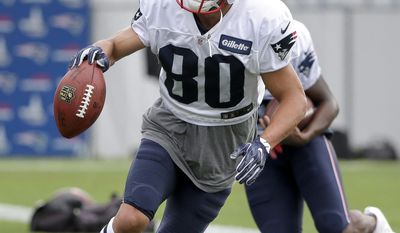 New England Patriots wide receiver Danny Amendola performs an agility drill during an NFL football joint practice with the Jacksonville Jaguars, Monday, Aug. 7, 2017, in Foxborough, Mass. (AP Photo/Steven Senne)