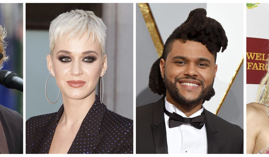 FILE - This combination photo shows musicians, from left, Ed Sheeran, Katy Perry, The Weeknd and Miley Cyrus, who will perform at the MTV Video Music Awards on Aug. 27 at the Forum in Inglewood, Calif. MTV announced, Monday, Aug. 7, that Lorde, Shawn Mendes, Fifth Harmony and Thirty Seconds to Mars will also perform. (AP Photo/File)