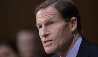 Sen. Richard Blumenthal, D-Conn., speaks on Capitol Hill in Washington. (AP Photo/J. Scott Applewhite, File)