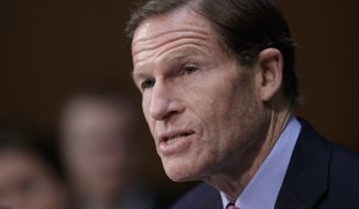 """FILE - In this April 3, 2017 file photo, Sen. Richard Blumenthal, D-Conn. speaks on Capitol Hill in Washington. President Donald Trump on Monday, Aug. 7, 2017, lashed out at Blumenthal, calling him a """"phony Vietnam con artist"""" after the lawmaker expressed concerns about the Justice Department's pursuit of leakers and embraced a special counsel's probe of Russia meddling in the election and possible collusion with Trump campaign officials. (AP Photo/J. Scott Applewhite, File)"""