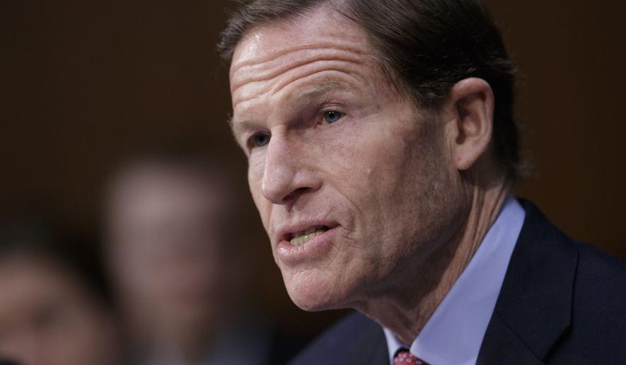 In this April 3, 2017, file photo, Sen. Richard Blumenthal, D-Conn. speaks on Capitol Hill in Washington. (AP Photo/J. Scott Applewhite, File)