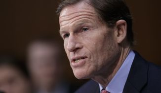 Sen. Richard Blumenthal, D-Conn. speaks on Capitol Hill in Washington. (AP Photo/J. Scott Applewhite, File)
