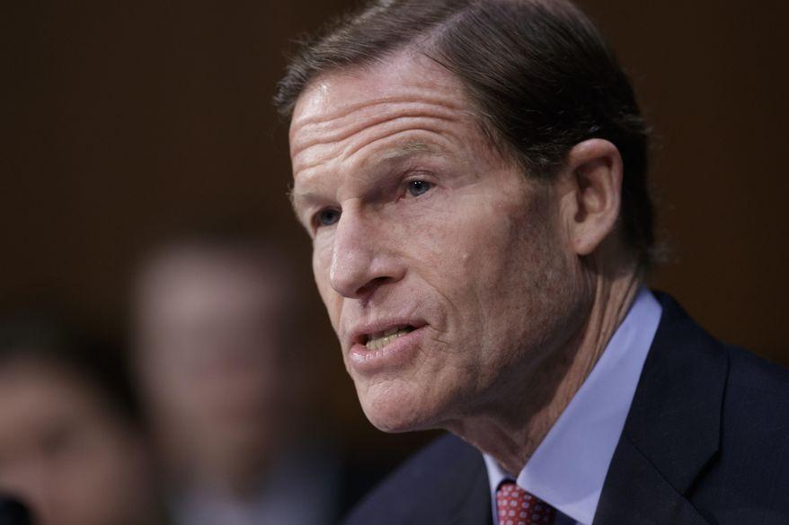 Sen. Richard Blumenthal, D-Conn., speaks on Capitol Hill in Washington. (AP Photo/J. Scott Applewhite, File)