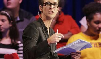 FILE - In this Friday, Nov. 6, 2015, file photo, MSNBC's Rachel Maddow speaks during a Democratic presidential candidate forum at Winthrop University in Rock Hill, S.C. Maddow has turned politics into prime-time entertainment for people worried about the state of the new presidency. MSNBC achieved other milestones in July, including its closest finish to Fox since 2000 and largest margin of victory over CNN ever. (AP Photo/Chuck Burton, File)