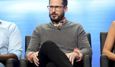 """Andy Samberg participates in the """"Tuesday Twosomes (Lethal Weapon, The Mick and Brooklyn Nine-Nine)"""" panel during the FOX Television Critics Association Summer Press Tour at the Beverly Hilton on Tuesday, Aug. 8, 2017, in Beverly Hills, Calif. (Photo by Willy Sanjuan/Invision/AP)"""