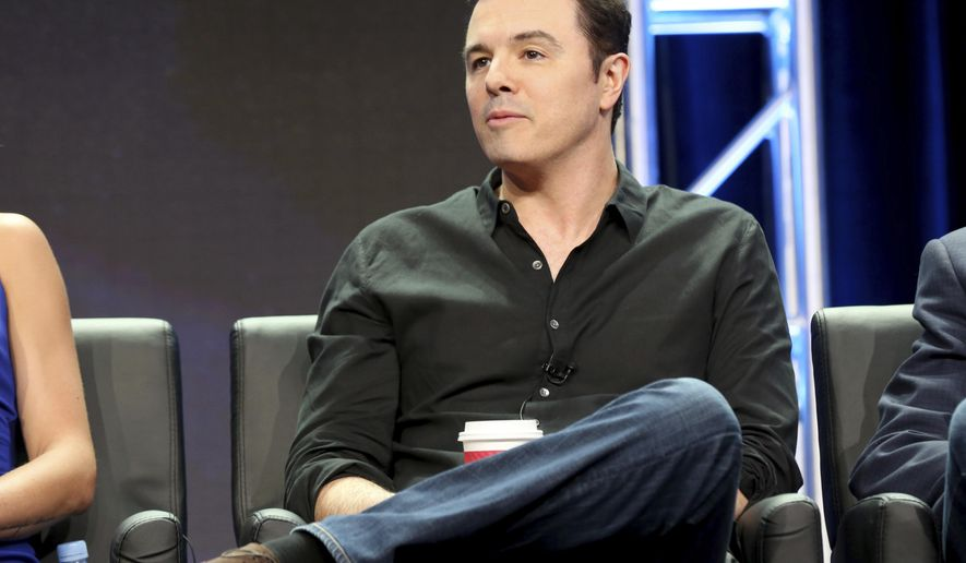 "Seth MacFarlane participates in the ""The Orville"" panel during the FOX Television Critics Association Summer Press Tour at the Beverly Hilton on Tuesday, Aug. 8, 2017, in Beverly Hills, Calif. (Photo by Willy Sanjuan/Invision/AP)"