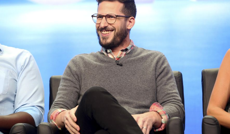 "Andy Samberg participates in the ""Tuesday Twosomes (Lethal Weapon, The Mick and Brooklyn Nine-Nine)"" panel during the FOX Television Critics Association Summer Press Tour at the Beverly Hilton on Tuesday, Aug. 8, 2017, in Beverly Hills, Calif. (Photo by Willy Sanjuan/Invision/AP)"