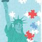 Illustration on solving the immigration puzzle by Linas Garsys/The Washington Times