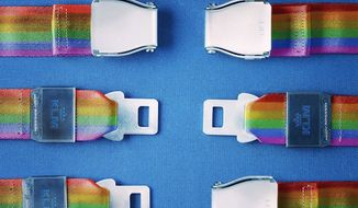 "KLM Royal Dutch Airlines released an ad campaign for #PrideAmsterdam on Aug. 5, 2017, that was not well-received on social media. ""It doesn't matter who you click with. Happy #PrideAmsterdam,"" the ad said with a pair of incompatible rainbow seatbelts. (Twitter, KLM Royal Dutch Airlines)"