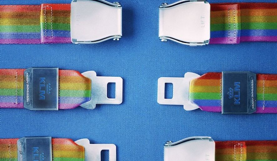 """KLM Royal Dutch Airlines released an ad campaign for #PrideAmsterdam on Aug. 5, 2017, that was not well-received on social media. """"It doesn't matter who you click with. Happy #PrideAmsterdam,"""" the ad said with a pair of incompatible rainbow seatbelts. (Twitter, KLM Royal Dutch Airlines)"""