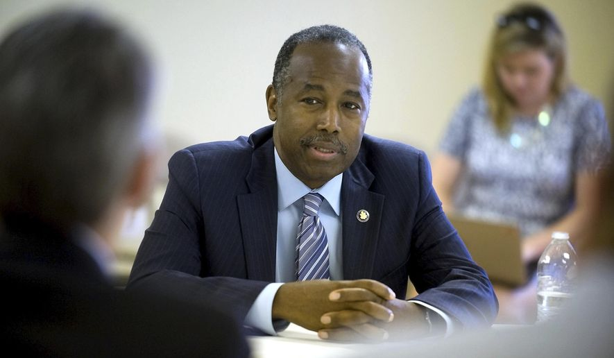 U.S. Secretary Secretary of Housing and Urban Development Ben Carson responds to questions during an interview with The Southern Illinoisan newspaper, Tuesday Aug. 8, 2017, in the Alexander Housing Authority Shuemaker Building in Cairo, Ill. (Richard Sitler /The Southern Illinoisan via AP)