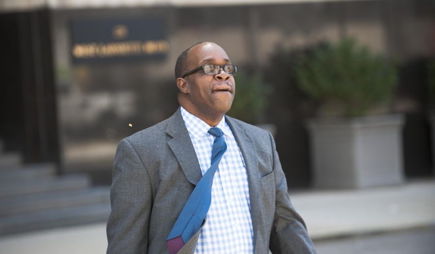 This Aug. 4, 2017 photo Jerome Durden leaves U.S. District Court in Detroit. The former Fiat Chrysler financial analyst who federal prosecutors say helped illegally funnel worker training funds over a number of years has pleaded guilty in the case. Durden entered the pleas Tuesday, Aug. 8 in U.S. District Court in Ann Arbor to charges of conspiracy to defraud the U.S. and failure to file a tax return. As part of a plea agreement, he faces up to 37 months in prison. Sentencing is scheduled for Dec. 12.   (John T. Greilick/Detroit News via AP)