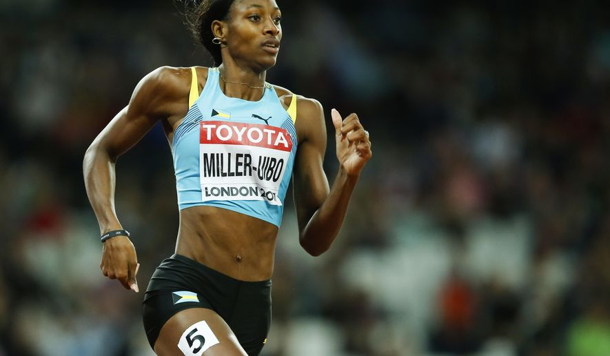 Bahamas' Shaunae Miller-Uibo competes in a Women's 400m semifinal during the World Athletics Championships in London Monday, Aug. 7, 2017. (AP Photo/Alastair Grant)