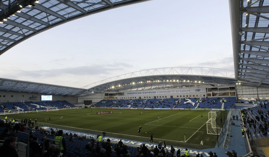 FILE - This Tuesday, Jan. 31, 2012 file photo shows a general view of Brighton & Hove Albion's Amex Stadium, Brighton, England.  Brighton is among the newly promoted English teams who are preparing for this weekend's opening of the Premier League season on Friday, Aug. 11, 2017.(AP Photo/Sang Tan, file)