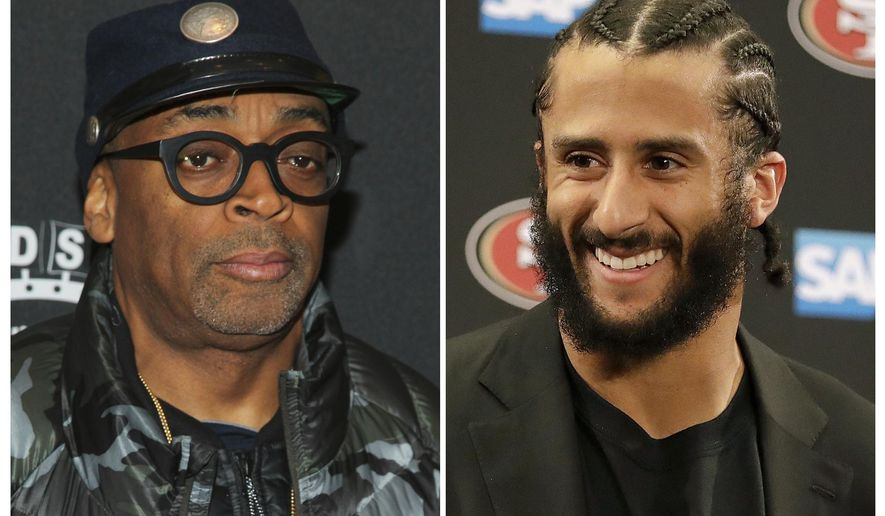 "FILE - In this combination photo, director Spike Lee, left, appears at the premiere of ""Touched With Fire"" on Feb. 10, 2016, in New York and San Francisco 49ers quarterback Colin Kaepernick appears at a news conference on Jan. 1, 2017, after an NFL football game against the Seattle Seahawks in Santa Clara, Calif. On Aug. 8, 2017, Lee tweeted an advertisement for an Aug. 23, 2017, rally for Kaepernick outside the NFL's New York City headquarters. (AP Photo/Files)"