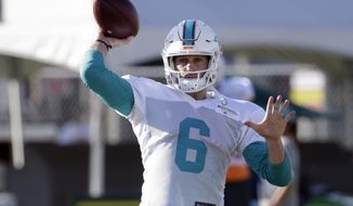 Miami Dolphins quarterback Jay Cutler (6) throws a pass during an NFL football training camp, Tuesday, Aug. 8, 2017, in Davie, Fla. (AP Photo/Lynne Sladky)