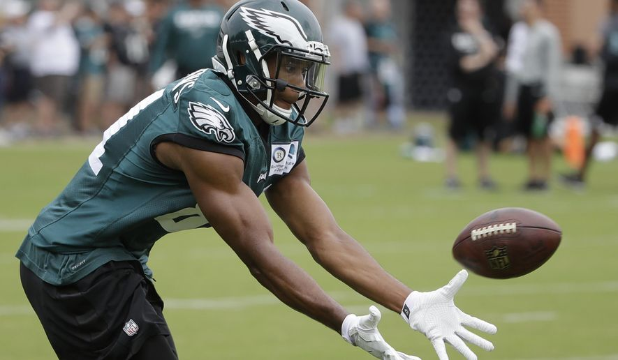 Philadelphia Eagles wide receiver Jordan Matthews catches a ball during an NFL football training camp in Philadelphia, Tuesday, Aug. 8, 2017. (AP Photo/Matt Rourke)