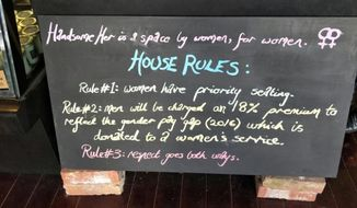 """A chalkboard sign at Handsome Her, a Melbourne, Australia eatery that charges men an 18% surcharge to combat the nation's """"gender pay gap."""" Proceeds go to a women's charity of the cafe's choosing, CNN reported. (Belle Ngien of Handsome Her/CNN.com) [http://www.cnn.com/2017/08/08/world/cafe-gender-pay-gap-trnd/index.html?sr=fbCNN080817cafe-gender-pay-gap-trnd0920AMStoryLink]"""