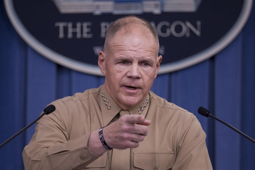 In this March 10, 2017, file photo, Marine Corps Commandant Gen. Robert Neller speaks during a news conference at the Pentagon. (AP Photo/Cliff Owen, File)